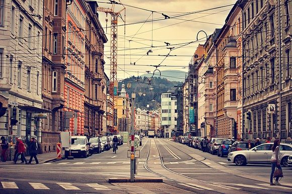 Tram tracks in the city of Innsbruck, Austria