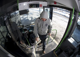 Footage from a surveillance camera in a bus